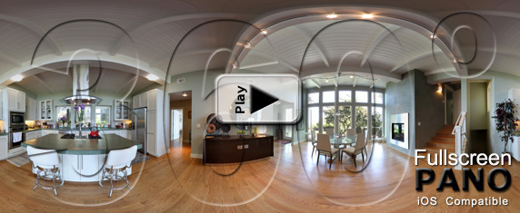 Sausalito Kitchen and Dining Room Pano Play Button