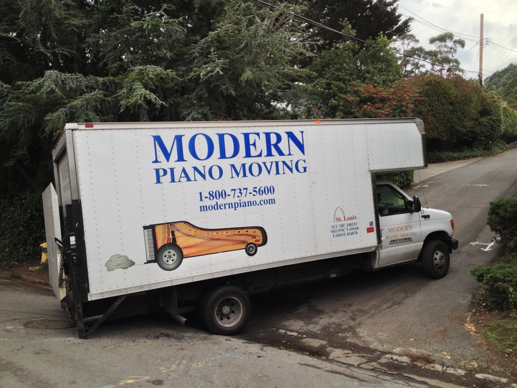 Piano Delivery Truck Blocks Road for Hours