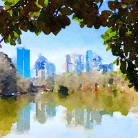 Piedmont Park Lake Clare Reflection Watercolor