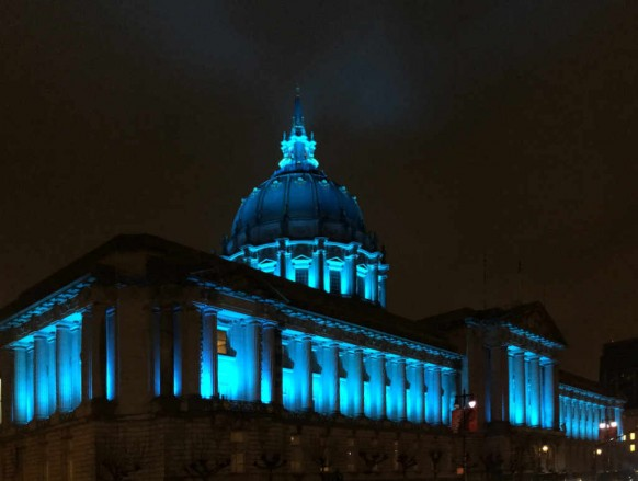SF City Hall Blue Corner shot