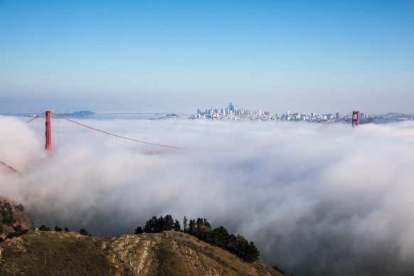 Golden Gate Bridge, San Francisco Skyline in Fog