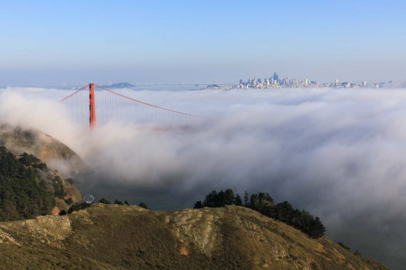 Golden Gate Bridge, San Francisco Skyline, and Marin Headlands in Fog