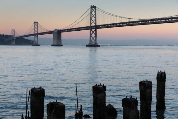Bay Bridge near Old Pilings (magic hour)