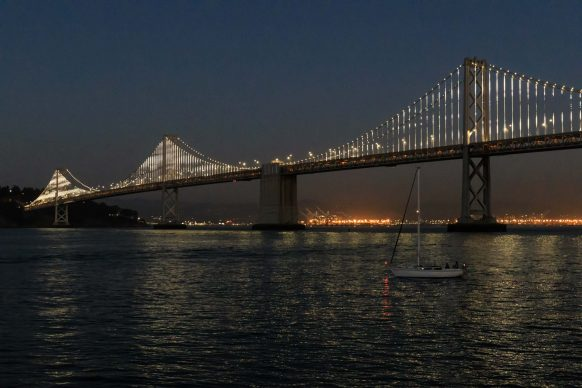 Sailboat by the Bay Bridge (Nighttime)