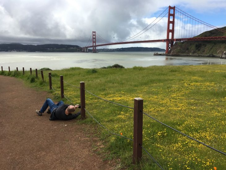 Steve Making Golden Gate Bridge Art