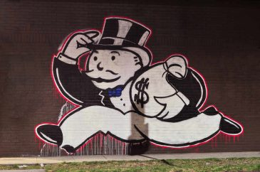 Monopoly money bags graffiti