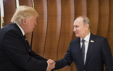 Putin and Trump shaking hands