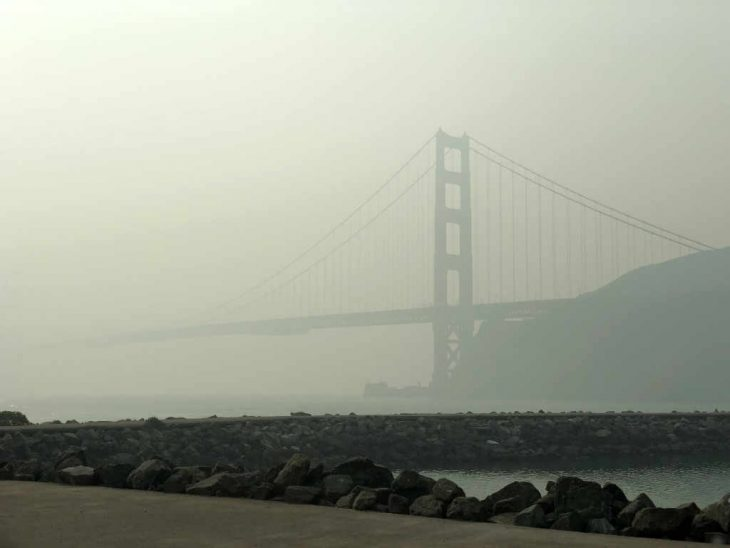 Golden Gate Bridge in Smoke Friday