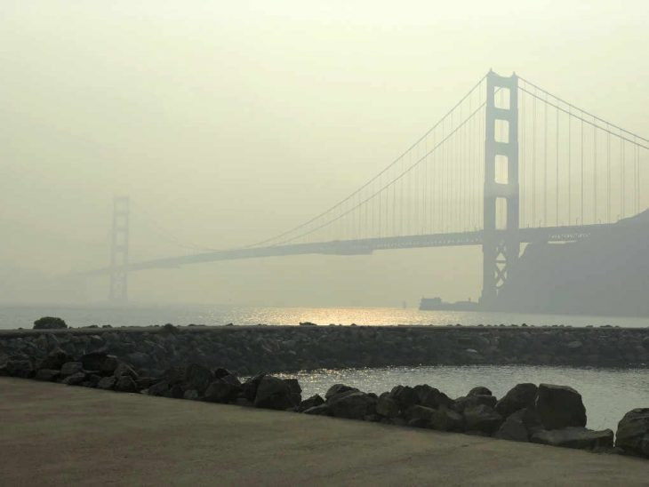 Golden Gate Bridge in Smoke Thursday
