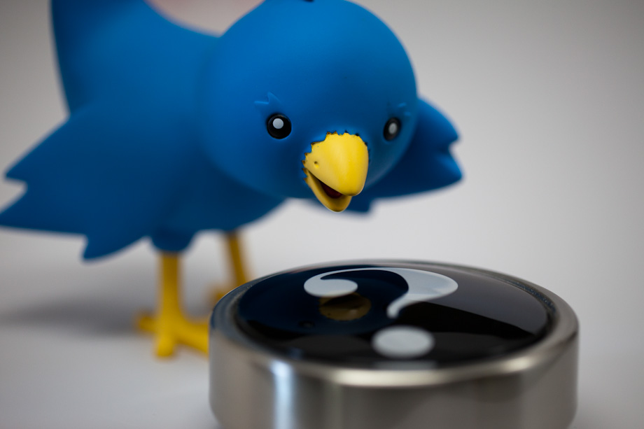 Twitter Bird and Question Mark Paper Weight Macro