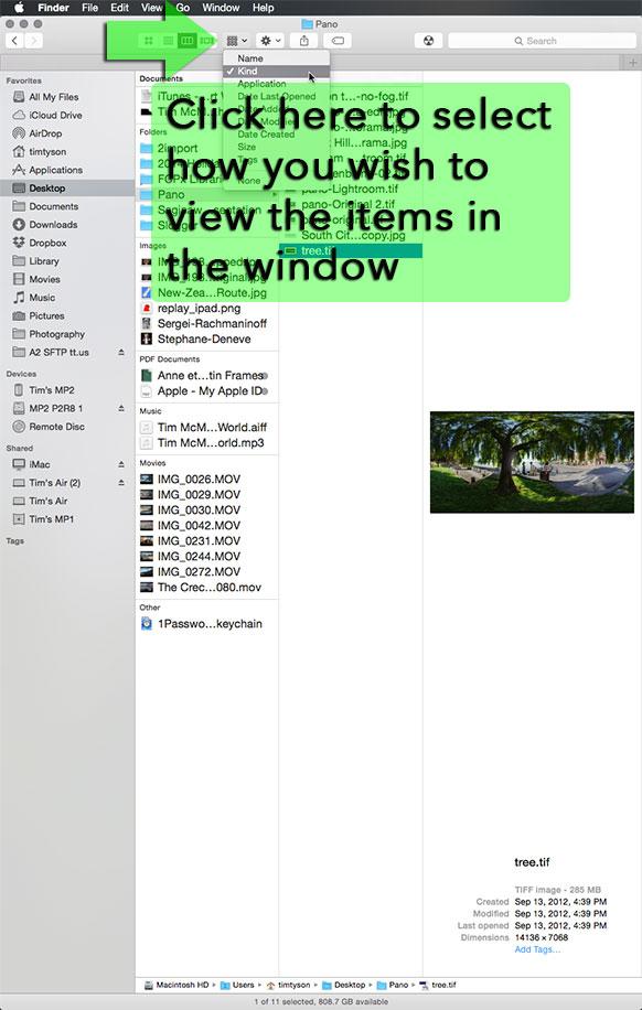 Finder Window Viewing Options